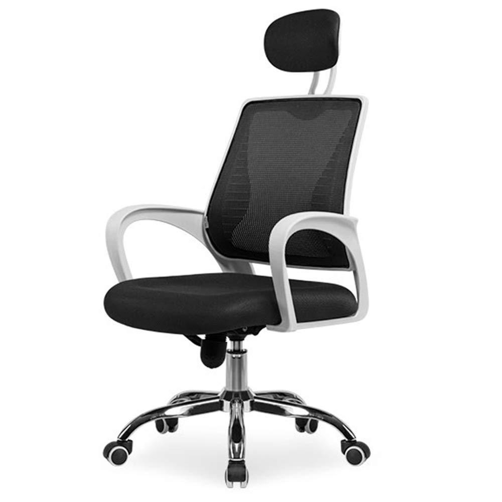 オフィスチェア/コンピュータチェア/回転チェア、人間工学に基づいた背もたれ/疲労緩和、360°回転/ 10cmの高さ調整、固定アームレスト、通気性メッシュ(マルチカラーオプション)  black white B07QWWMM2F