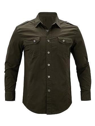 f92c61f644436 OCHENTA Hombres Manga Larga Militar Estilo Carga Táctico Camisa de Trabajo  Ejercito Verde Etiqueta 3XL - ES XL  Amazon.es  Ropa y accesorios