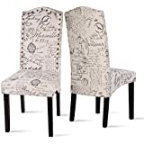 Captivating Merax Fabric Dining Chairs Script Fabric Accent Chair With Solid Wood Legs,  Set Of 2 (Beigeu0026Script)