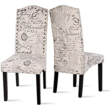 fabric dining chairs script accent chair solid wood legs set with arms uk black amazon