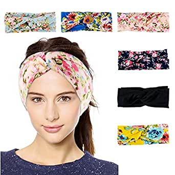 6 Pack Women's Elastic Turban Headbands Twisted Cute Head Wrap Hair Accessories