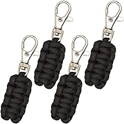 Paracord Zipper Pulls 4 Pack - Black | Metal Hook Thin Enough To Attach To Almost Any Zipper | Money Back Guarantee