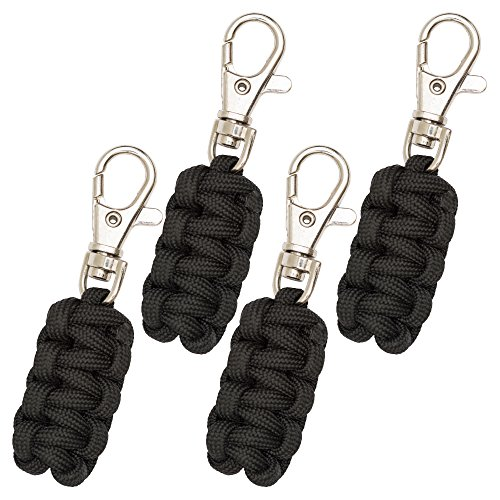 Paracord Zipper Pulls 4 Pack Variety of Colors | Metal Hook Thin Enough To Attach To Almost Any Zipper
