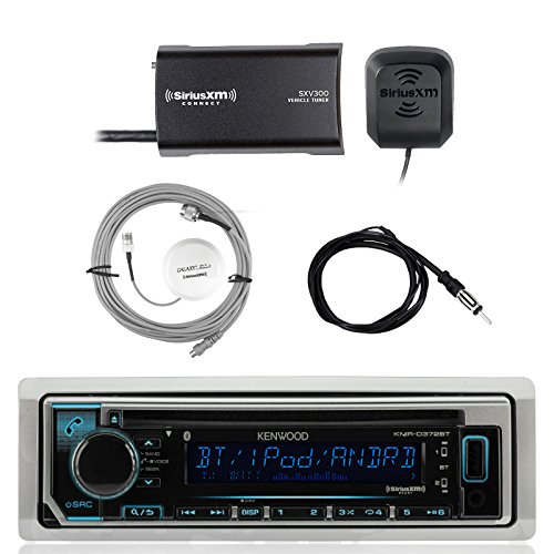 Kenwood Single DIN Bluetooth in-Dash CD AM/FM Marine Stereo Receiver, SiriusXM Satellite Radio Tuner, Shakespeare Galaxy Antenna, Enrock Marine Antenna