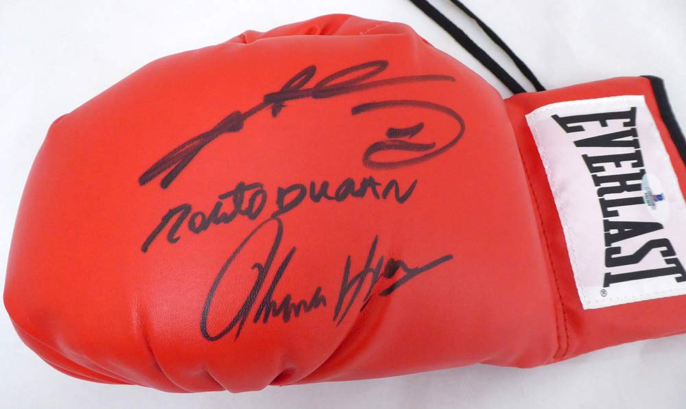 BOXING GREATS AUTOGRAPHED RED EVERLAST BOXING GLOVE WITH 3 SIGNATURES INCLUDING SUGAR RAY LEONARD, THOMAS HEARNS & ROBERTO DURAN LH BECKETT (BAS) STOCK #138752
