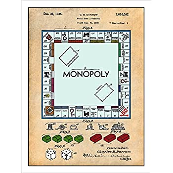 Amazon 1935 monopoly board game patent print colorized art 1935 monopoly board game patent print colorized art poster unframed parchment 18 malvernweather Choice Image