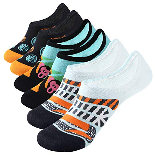 WANDER Novelty No Show Socks for Men Ankle Low Cut Cotton Funny Socks with Colorful Pattern (6 Pairs of Cartoon Socks, Sock Size - Pattern Socks Monkey