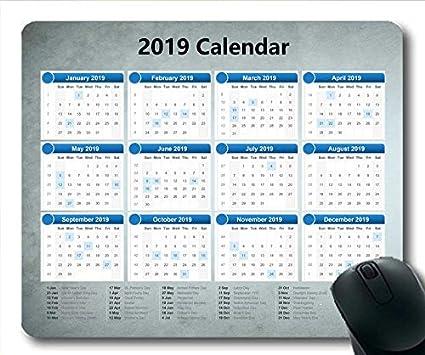 Yanteng Alfombrilla de ratón Calendario 2019 Negra, Mes ...