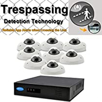 OwlTech 8 Channel Trespassing Detection NVR up to 5MP Resolution + 8 x 720P 1.3MP 3.6mm Hotel Style IP Dome Camera (NO LED) WDR + POE + 2TB HDD + 100ft cable and accessories