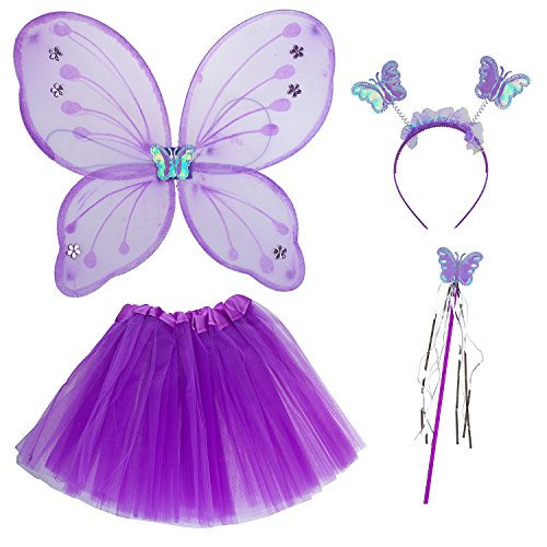 Lux Accessories Purple Fairy Skirt Butterfly Wing Fashion Headband Costume -