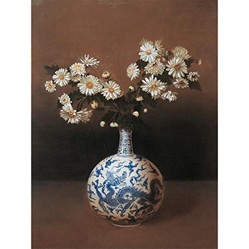 Stone Resin Oil Vase (5D Diamond Painting Rhinestone Vase Blue and White Porcelain Wildflower Embroidery Wallpaper DIY Wall Sticker by Number Kits Full Drill Kits Full Drill Cross Stitch Arts 40X30CM)