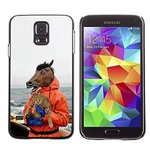 Stuss Case / Funda Carcasa protectora - Horse & Cat - Funny Meme - Yolo Lol Wtf Troll - Samsung Galaxy S5