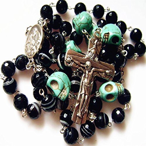 elegantmedical HANDMADE TURQUOISE SKULL BEAD & BLACK AGATE ROSARY CROSS CRUCIFIX CATHOLIC GIFT NECKLACE Mens Womens GIFTS