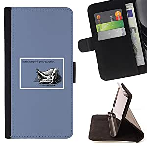 DEVIL CASE - FOR Samsung Galaxy S5 Mini, SM-G800 - Procrastination Quote Life Funny Work Success - Style PU Leather Case Wallet Flip Stand Flap Closure Cover