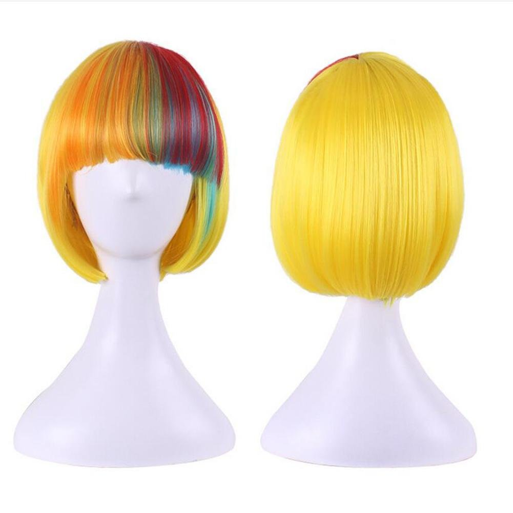 Color mixed color) OOARGE Womens Girls Cosplay Short Synthetic BOB Hair Wigs Halloween Party