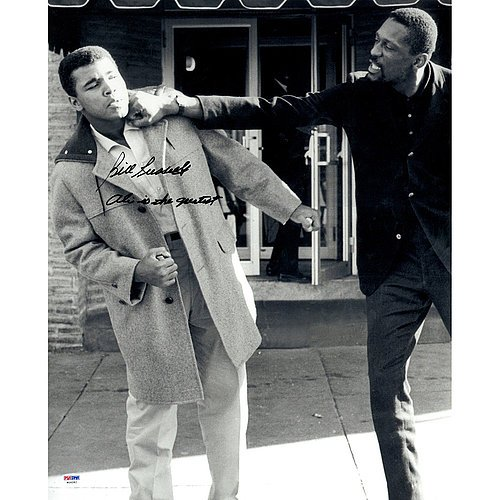 Bill Russell Autographed with Muhammad Ali 16x20 Photograph with Ali is the Greateast Inscription ( PSA/DNA Authentic Autographed (Bill Russell Autographed Photograph)
