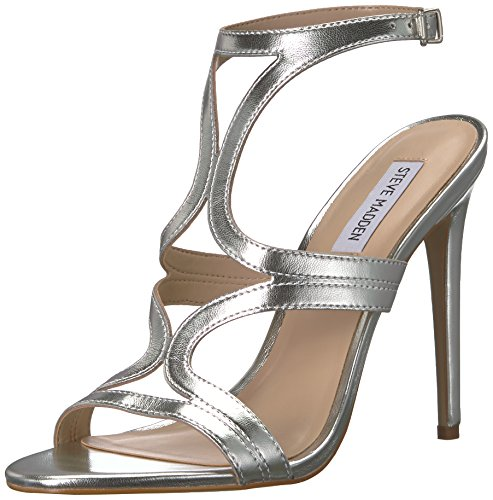 - Steve Madden Women's Sidney Heeled Sandal, Silver Leather, 8.5 M US