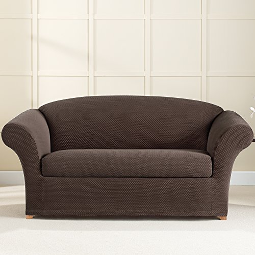 Sure Fit Stretch Brixton 2 Piece Loveseat Slipcover Chocolate Sf42754 Buy Online In Uae