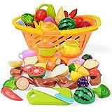 NextX Play Food Cutting Fruits Pretend Food Set Kitchen Toy for Kids 20 Piece