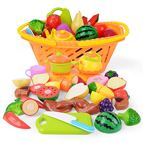 NextX Play Food Cutting Fruits Pretend Food Set Kitchen Toy for Kids 20 Piece (Slicing Play Food Set)