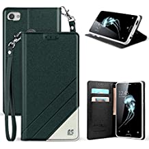 Spots8 Case For Alcatel Idol 5 6060C, Alcatel Nitro 5, Black White Faux Leather Hybrid Flip Wallet Cover With Phone Strap Built In Kickstand Card Slots And Invisible Magnetic Closure