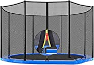 6/8/12 Poles Round Replacement Safety Net for Most Trampoline, Trampoline Enclosure Anti-Fall Guard -Only Net