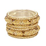 Ratna Ethnic Fully Golden Bangles Set Traditional Gold Plated Lct Wedding Bangle Jewelry Set (2.8)