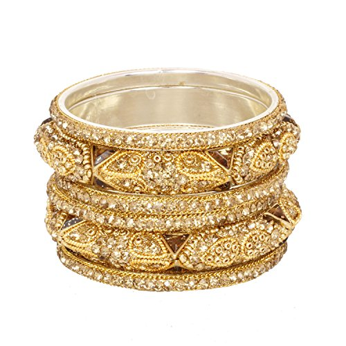 (Ratna Indian Bollywood Ethnic Golden Stone Crystal Bangle Bracelet Set Traditional Partywear Kada Bangle Set Wedding Costume Jewelry)