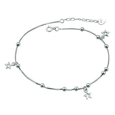 Korliya 925 Sterling Silver Indian Heart Love Adjustable beaded Ankle Bracelets Anklet 6DiFRpZr