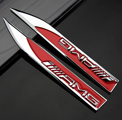 YIKA New 3D Car Logo Car Emblem Chrome Stickers Decals Badge Labeling for Mercedes Benz AMG(red)