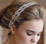 Meiysh Double Strip Diamond Bride Bridal Wedding Accessory Hair Head Band Headdress