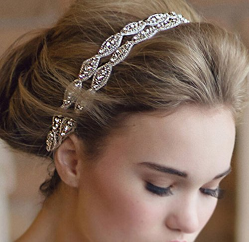 Meiysh Double Strip Diamond Bride Bridal Wedding Accessory Hair Head Band Headdress