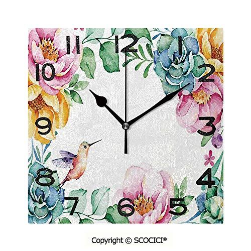 SCOCICI 8 inch Square Clock Nature Themed Framework with Floral Flourish Border and Cute Little Hummingbird Decorative Unique Wall Clock-for Living Room, Bedroom or Kitchen Use (Tick Tock Florals)