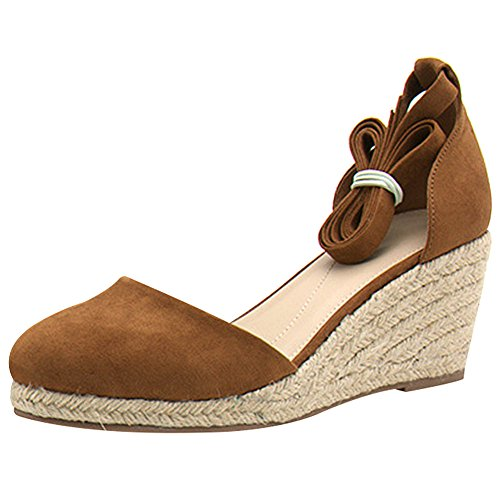 rismart Ladies Women's Wedges Summer Ankle Straps Espadrilles Sandals Shoes SN02715(Tan,8.5)