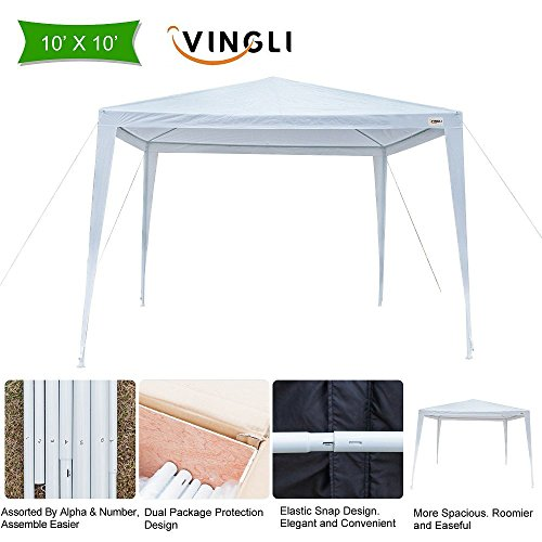 VINGLI 10' x 10' Outdoor Canopy Wedding Party Tent, Upgraded Thicker Tube Steady Unique Frame Design,Sun Shelter Anti-UV,Event Gazebo Pavilion Beach Backyard Patio Garden by VINGLI
