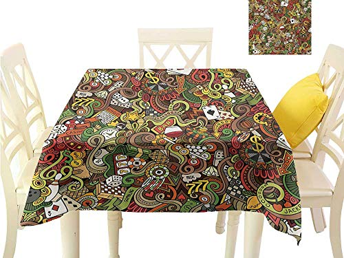 Angoueleven Table Cover Tablecloth Casino,Doodles Style Artwork of Bingo and Cards Excitement Checkers King Tambourine Vegas,Multicolor Fabric Decorative Table Top Cover W 60