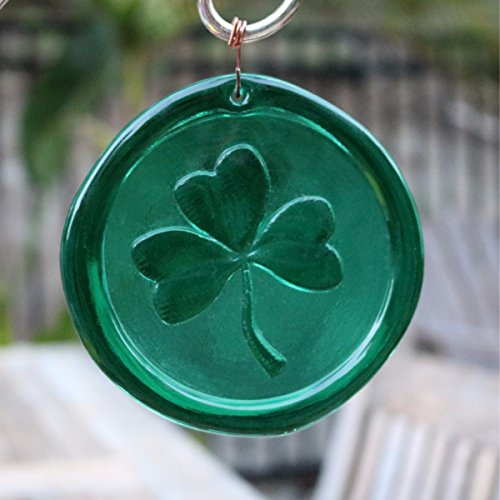 (Mission Glass Works 4-Inch Shamrock Suncatcher in Green from Our Irish Collection - A Stunning Window Ornament and Gift from Pressed from Hand Carved Steel Dies Made in The USA)
