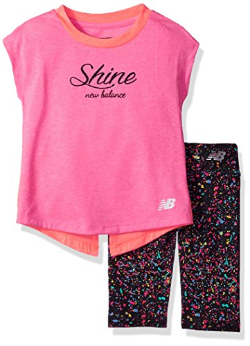 (New Balance Kids Baby Girls Short Sleeve Top and Capri Set, Pink/Coral/Confetti, 18 Months)