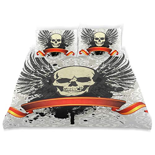 BISHUO Grunge Vintage Skull Emblem Ribbon Duvet Cover Set Design Bedding Decoration Twin XL 3 PC Sets 1 Duvets Covers with 2 Pillowcase Microfiber Bedding Set Bedroom Decor Accessories