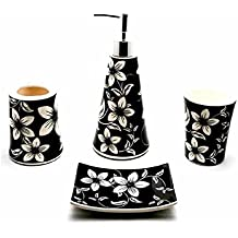 4 piece Ceramic Bathroom Accessory Set Black and White (White Orchids on Black Background)