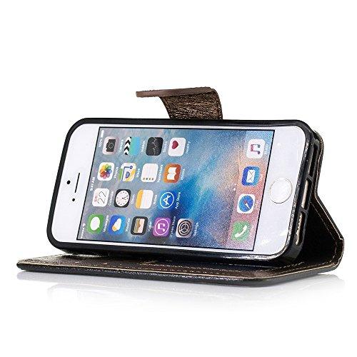 Silk Texture Bi-color Leather Wallet Phone Tasche Hüllen Schutzhülle - Case für iPhone SE/5s/5 with Strap - schwarz