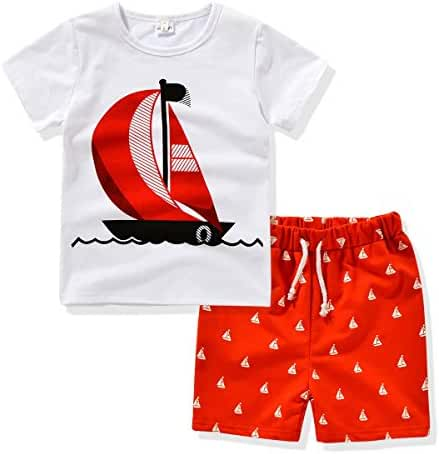 AJia Kids 2 Piece Short Sleeve Shirt and Shorts for 1 to 5 Years Olds Little Boy