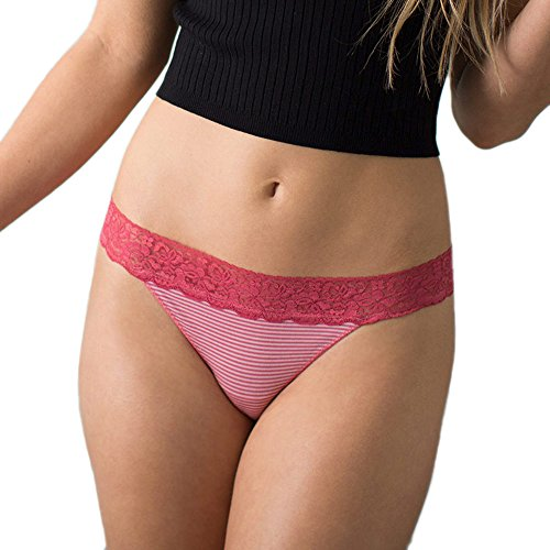 - Cariloha Women's Bamboo Underwear Viscose from Bamboo Lace Thong Panties (X-Large, Cabaret Stripe)