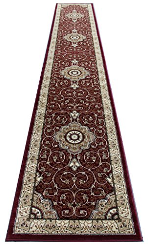 Masada Rugs, Traditional Long Runner Area Rug Burgundy (32 Inch X 19 Feet 8Inch) by Traditional Masada Rugs