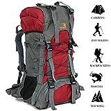TechCode Bags for Camping, 60L Large Capacity Waterproof Backpack Hiking Outdoor Rucksack Climb Daypack Trekking Mountaineering Basic Multipurpose Backpacks for Woman Man(Red)