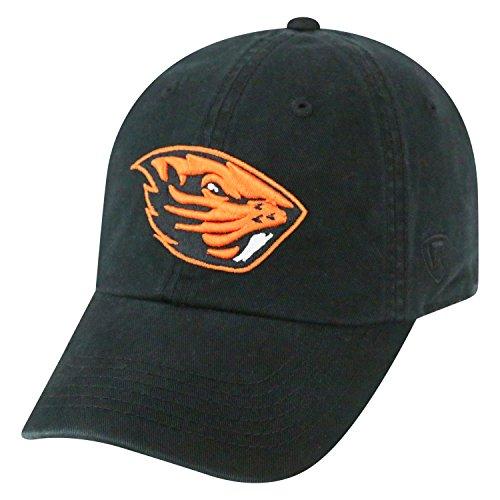 Top of the World NCAA-Cotton Crew-City-Adjustable Strapback-Hat Cap-Oregon State Beavers-Black - Black Campus Adjustable Hat
