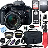 Canon EOS Rebel T7i DSLR Camera (1894C002) + 18-55mm IS STM & 75-300mm III Lens Kit + Accessory Bundle 32GB SDXC Memory + DSLR Photo Bag + Wide Angle Lens + 2x Telephoto Lens + Flash + Remote + Tripod
