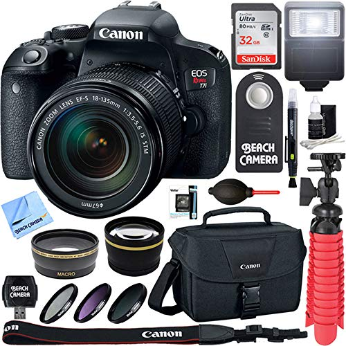 - Canon EOS Rebel T7i Digital SLR Camera with EF-S 18-135mm IS STM Lens + 64GB Extreme SDXC Memory UHS-I Card + Accessory Bundle