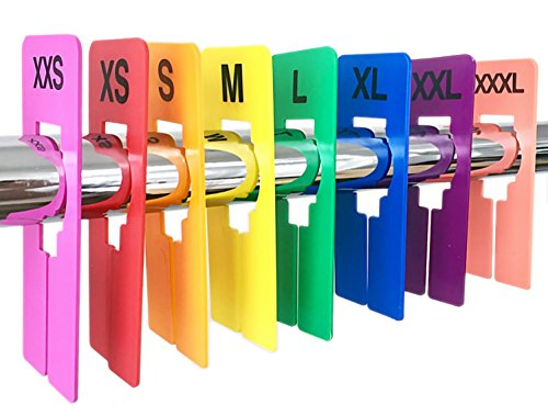 (Discount Sizing 16 PCS Colored Clothing Rectangular Size Dividers XXS-XXXL 2 PCS/Size)