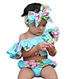 Chinatera 3Pcs Pretty Infant Baby Girl Off Shoulder Floral Ruffle Romper Shorts Sunsuit Headband Outfits